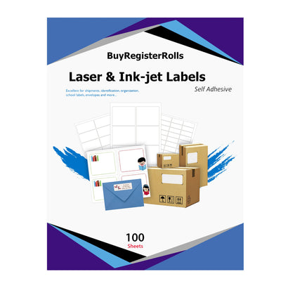 BuyRegisterRolls® Address Label 8.5' x 5.5' Inches Half Sheet Shipping Labels | 200 Labels - 100 Sheets of White Address Labels…