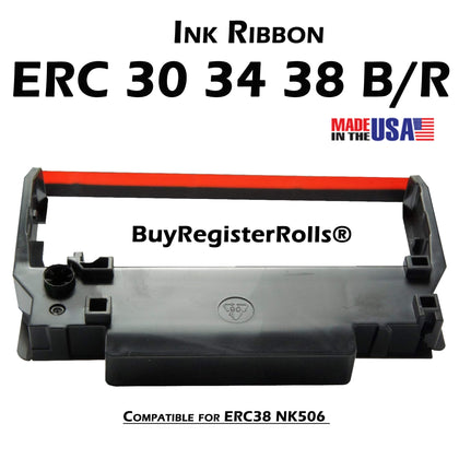 BuyRegisterRolls® printer ERC30 ERC-30 ERC 30 34 38 B/R Compatible with Ribbon Cartridge for use in ERC38 NK506 (Black Red)