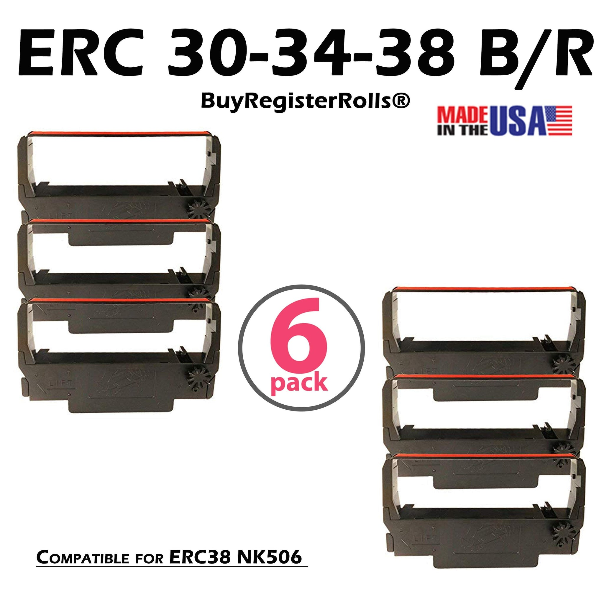 ERC30 ERC-30 ERC 30 34 38 B/R Compatible with Ribbon Cartridge for use in ERC38 NK506 (Black Red)