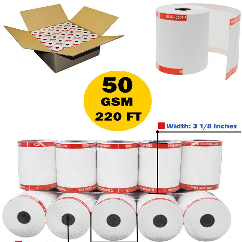 3-1//8 x 230 Thermal Paper Rolls Clover Systems BPA Free Made in USA From BuyRegisterRolls. 50 Rolls