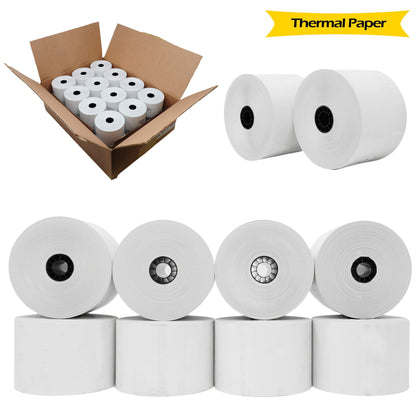 "BuyRegisterRolls® Register Rolls [24 Rolls] 2-5 ⁄ 16"" x 356' ( 59mm Width x 3.32 Inches Diameter)"