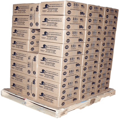 BuyRegisterRolls® Register Rolls 3 1/8 x 230 thermal paper roll 50 pack | 10% More Paper | 51 Cases on a Pallet - Bulk Price - Pallet Price pos paper rolls 3 1/8