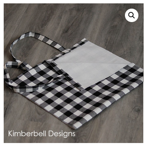 Kimberbell BUFFALO CHECK TOTE Black and Cream