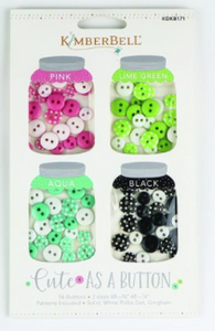 Kimberbell CUTE AS A BUTTON (PINK, LIME GREEN, AQUA, BLACK)