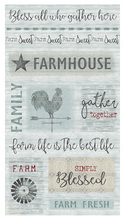 Load image into Gallery viewer, Farm Sweet Farm Panel AQUA by Contempo Studios for Bernatex