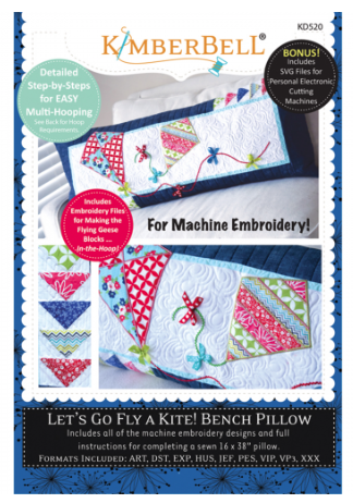 Kimberbell LET'S GO FLY A KITE! BENCH PILLOW MACHINE EMBROIDERY CD