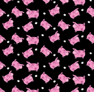 Pigs - Black by Kate Mawdsley for Henry Glass & Co