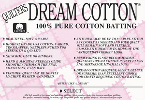 Quilter's Dream Cotton Batting SELECT QUEEN
