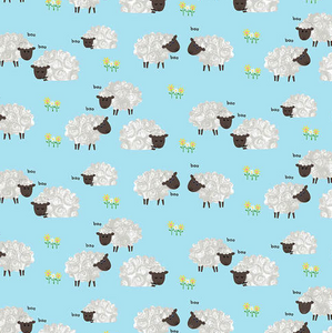 Sheep - Light Blue by Kate Mawdsley for Henry Glass & Co