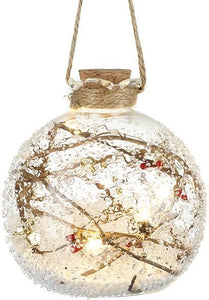 Woodland Twig LED Glass Bauble 10cm