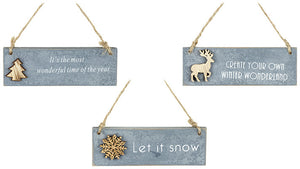 Set of 3 Hanging Grey Woodland Plaques 12cm