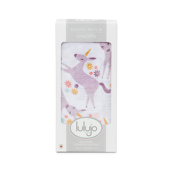 Lulujo Swaddle Blanket Modern Unicorn