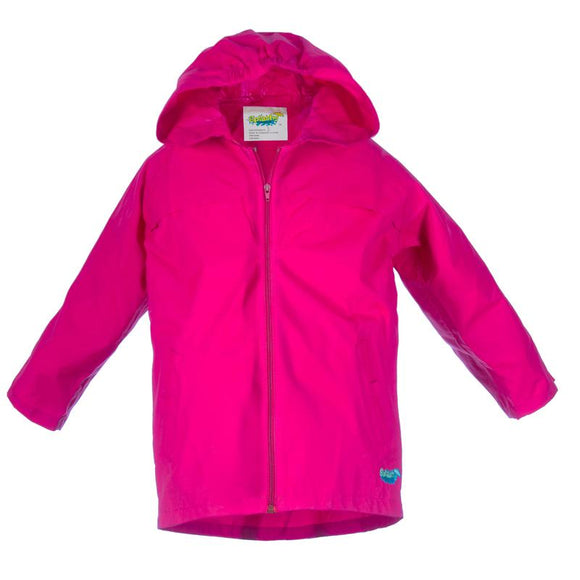 Splashy Nylon Rain Jacket Hot Pink Zipper