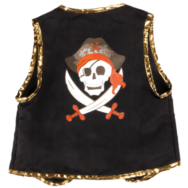 Great Pretenders 66495 Pirate Vest & Eye Patch Blk/Red