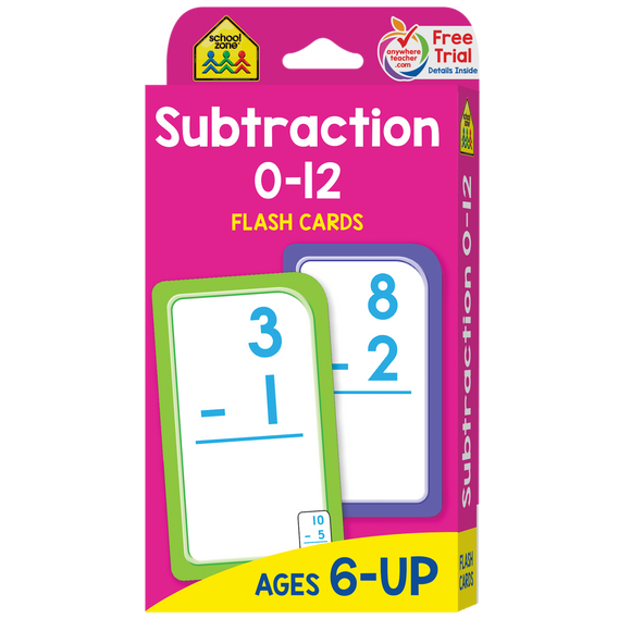School Zone Flash Cards Subtraction 0-12 Ages 6+