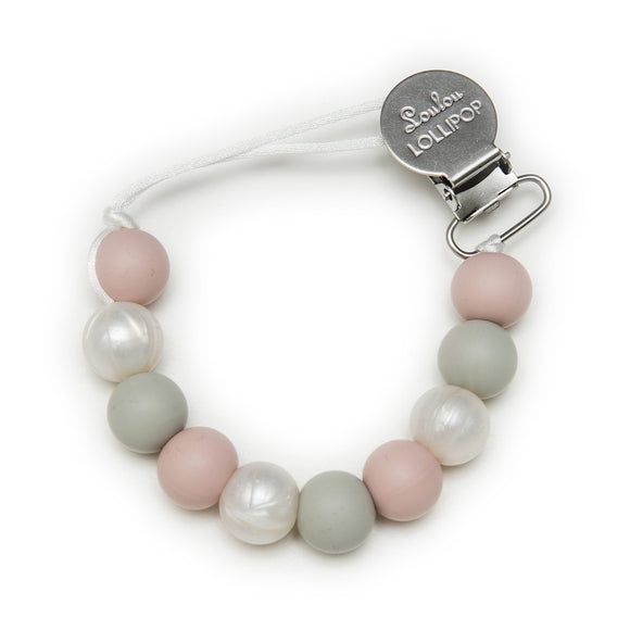 Loulou Lollipop Silicone Pacifier Clip - Rose Grey