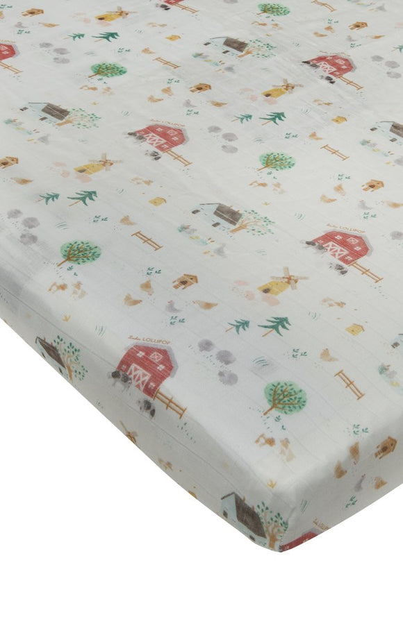Loulou Lollipop Fitted Crib Sheet - Farm Animals
