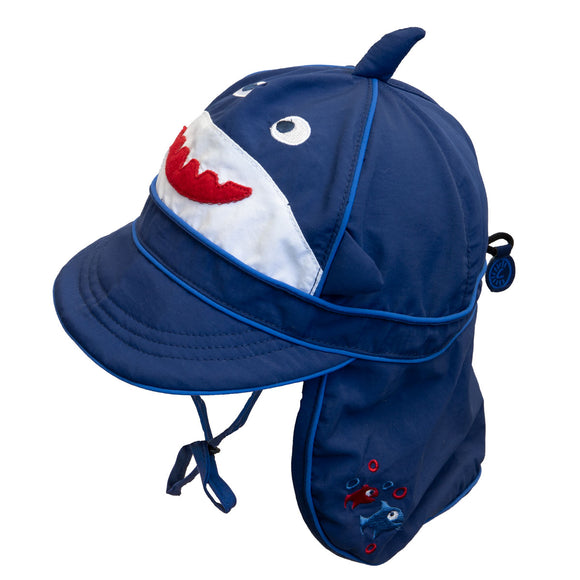 Calikids UV Flap Hat Navy Shark