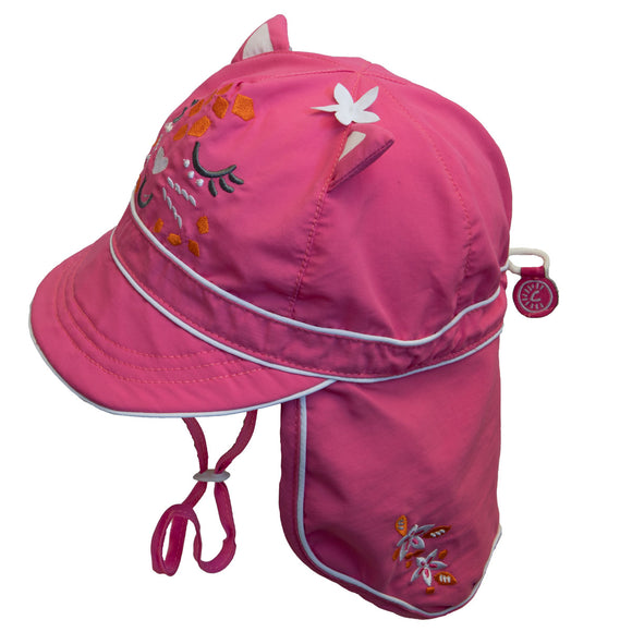 Calikids UV Flap Hat Hot Pink Kitty