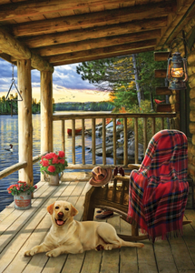 Cobble Hill 35pc Tray Puzzle Lake Cabin Labrador