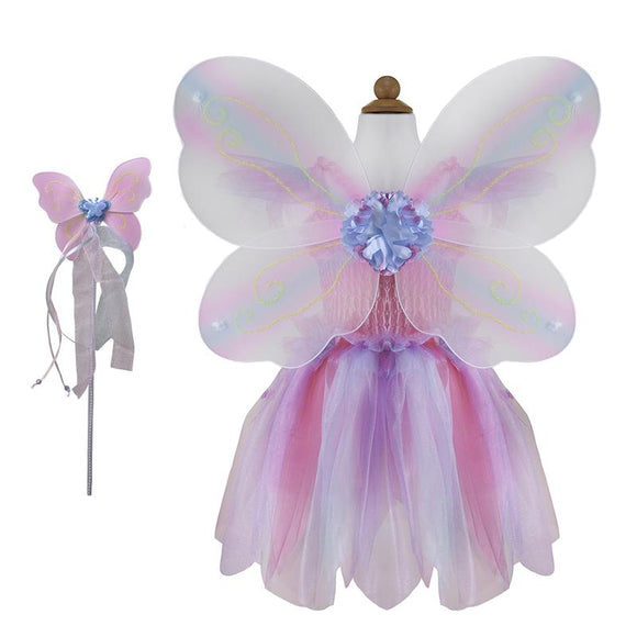 Great Pretenders Butterfly Dress w/Wings&Wand Pink/Multi