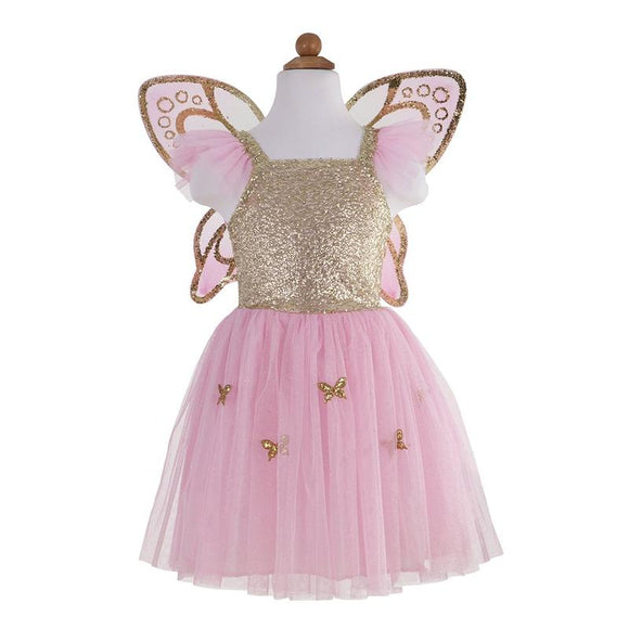 Great Pretenders Gold Butterfly Dress w/Fairy Wings