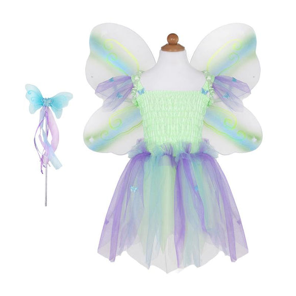 Great Pretenders Butterfly Dress & Wings w/Wand Green/Multi