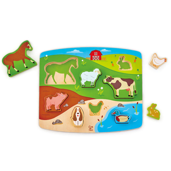 Hape Farm Animal Puzzle & Play