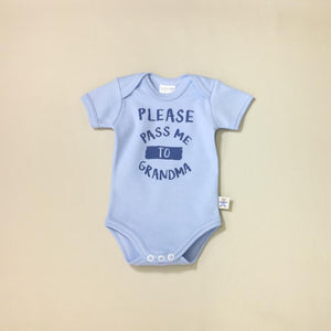 Itty Bitty Baby Onesie Please Pass Me to Grandma Blue