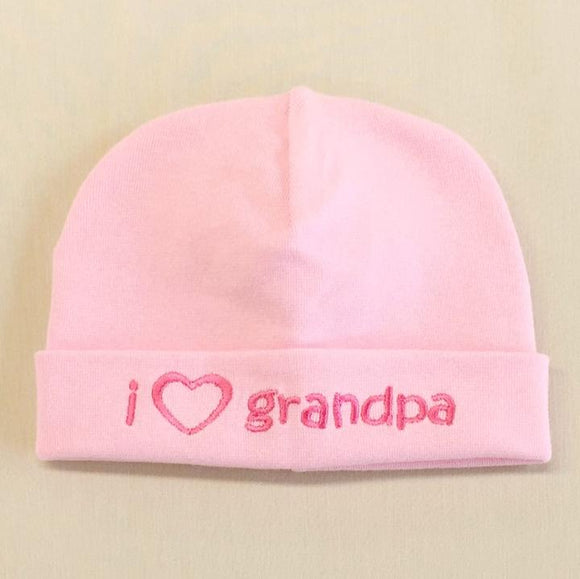 Itty Bitty Baby Hat I Love Grandpa Pink