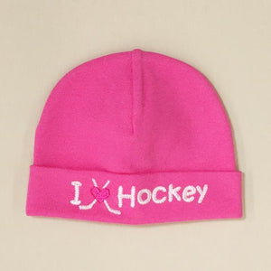 Itty Bitty Baby Hat I Love Hockey Pink