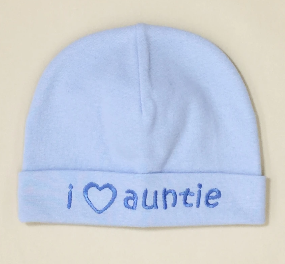 Itty Bitty Baby Hat I Love Auntie Blue