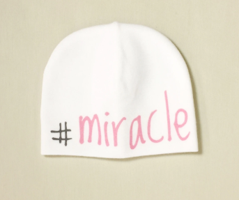 Itty Bitty Baby Hat #Miracle White/Pink