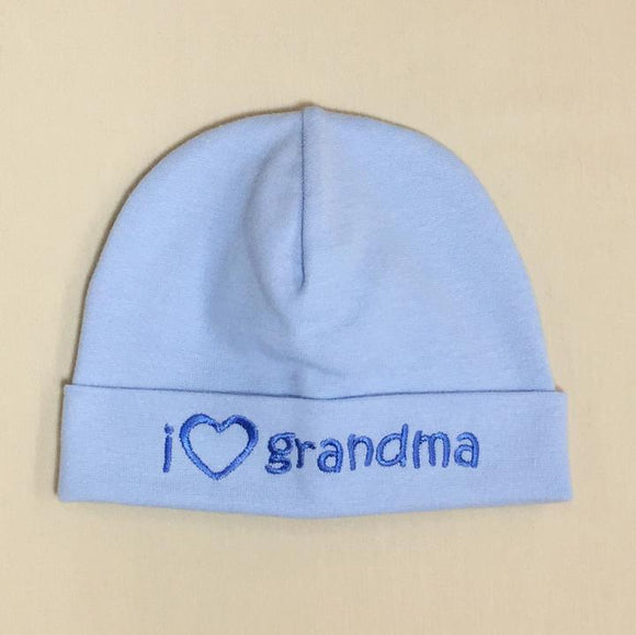 Itty Bitty Baby Hat I Love Grandma Blue
