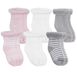 Kushies 6pk NB socks Pink