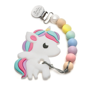 Loulou Lollipop Silicone Teether Holder Set - Rainbow Unicorn - Cotton Candy