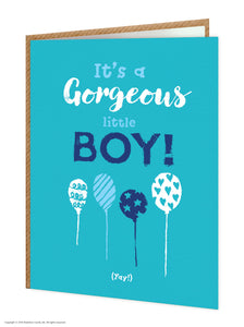 Baby Card Gorgeous Boy/balloons
