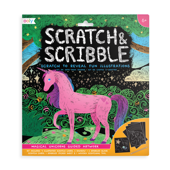 Ooly Scratch & Scribble Art Kit Magical Unicorns