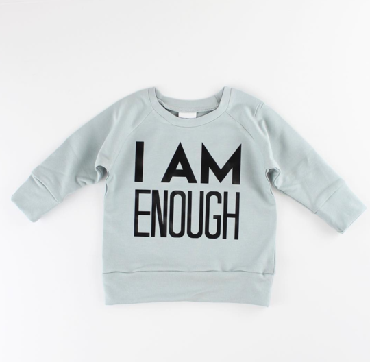 Posh & Cozy FINAL SALE Crew I AM ENOUGH, Seafoam