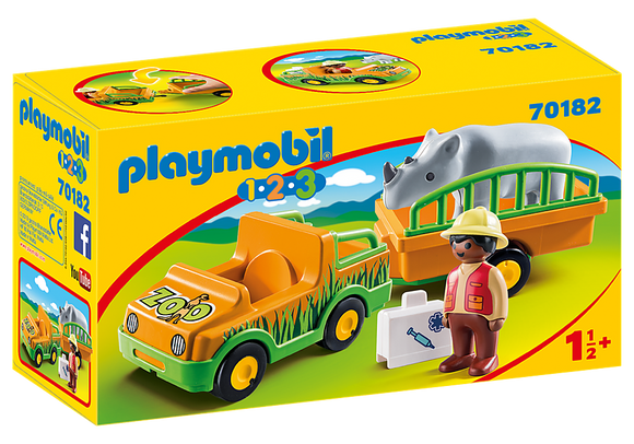 Playmobil 123, 70182 Zoo Vehicle with Rhinoceros