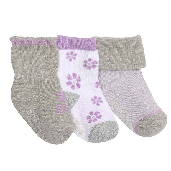 Robeez 3pk Socks Purple Flowers