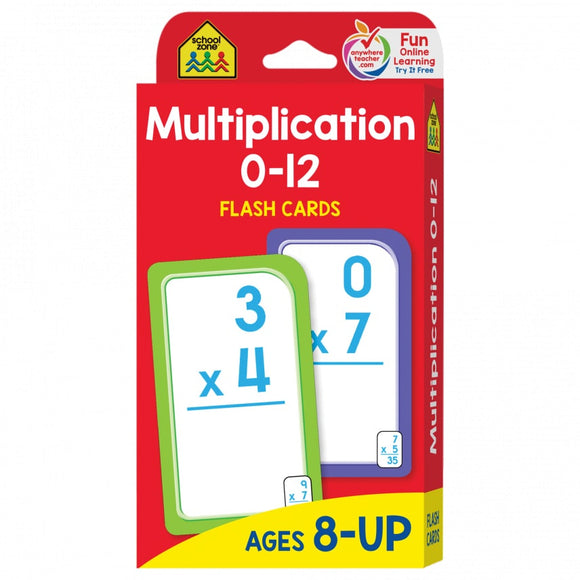 School Zone Flash Cards Multiplication Ages 8-UP