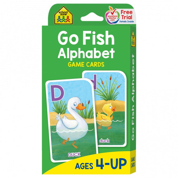School Zone Flash Cards Go Fish Alphabet Ages 4-UP