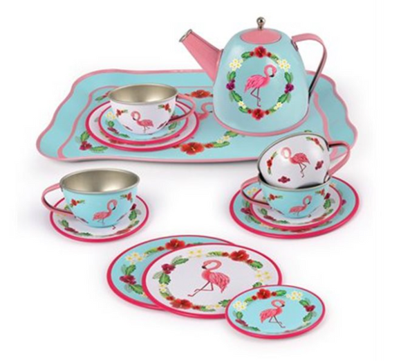 Champion Flamingo Tin Tea Set
