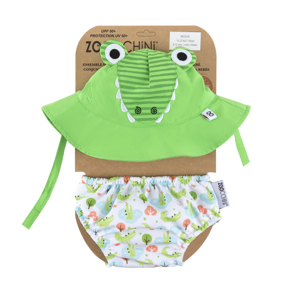 Zoocchini Swim Diaper & Sun Hat Set - Alligator