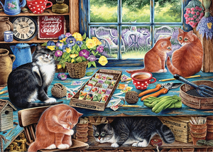 Cobble Hill 35pc Tray Puzzle 58872 Garden Shed Cats