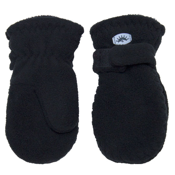 Calikids W1886 Fleece Mitten With Velcro - Black