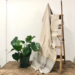 Fouta Towel, Wrap or Small Throw - Beige Berber