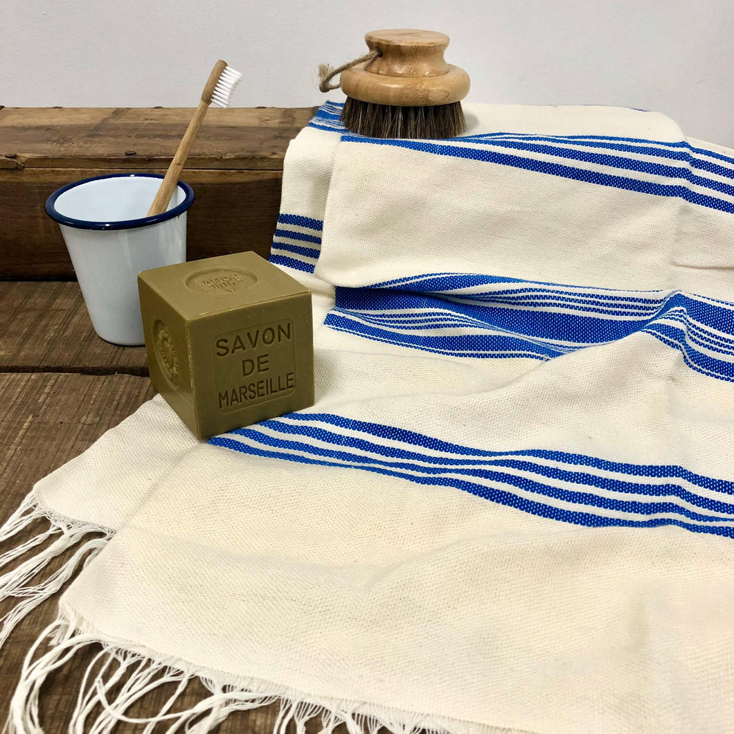 Handwoven Towel, Wrap or Small Throw - Wide Blue Stripes