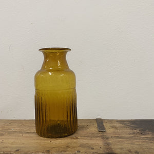 Amber Bottle Ribbed, Recycled Glass